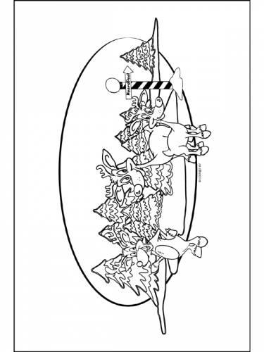 Rendieren En Kerstbomen Hert Dieren Kleurplaten