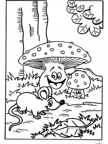 muis in het bos muis dieren kleurplaten print een