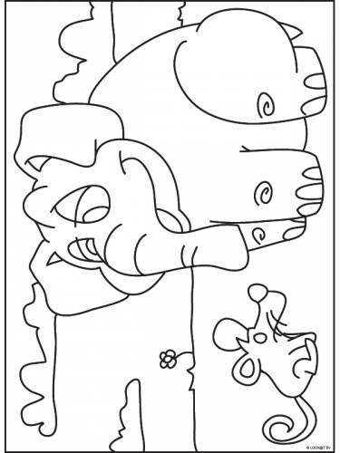 muis met olifant olifant dieren kleurplaten print